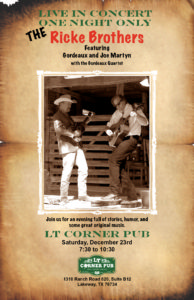 Live Music - The Ricke Brothers @ LT Corner Pub | Lakeway | Texas | United States